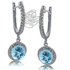 2.89CT 925 Silver Halo Drop Aquamarine Leverback Earrings 14K White Gold Plated