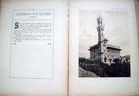 1915 CASTELLO MACKENZIE GENOVA. FASCICOLO DA VILLE E CASTELLI DI VITTORIO CICALA