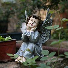 """11""""Sitting Wings Angel Garden Statue Guardian Heaven Angel Figurine Statue Decor"""