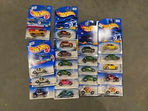 Lot of 20 Hot Wheels New 1/64 VW BUg, Volkswagen Beetle, Mini Cooper, Weiner