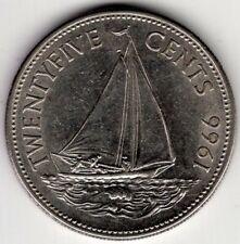 1966 BAHAMAS 25 TWENTY FIVE CENTS ELIZABETH II NICE COIN