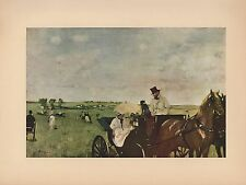 "1951 Vintage DEGAS ""A CARRIAGE AT THE RACES"" HORSES COLOR Art Print Lithograph"