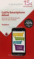 Vodafone CallYa PREPAID KARTE mit SMS und INTERNET FLAT mit 15€ Guthaben