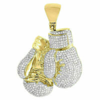2.10Ct Round Diamond Boxing Gloves Pendant 14K Yellow Gold Over Pave Charm Mens