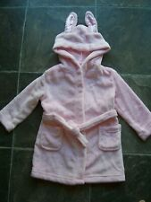 Girl's Pink Hooded Coral Fleece Bunny Ears Dressing Gown Size 2