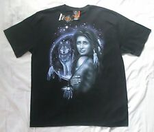 Native American Woman and Wolf Dreamcatcher XXL black t-shirt