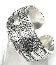 Hot New Tibetan Tibet Silver Totem Scroll Embossed Bangle Cuff Bracelet Adjusts