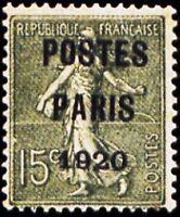 """FRANCE STAMP TIMBRE PREOBLITERE 25 """" SEMEUSE 15c POSTES PARIS 1920 """" NEUF xx TTB"""