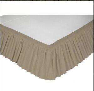 "VHC Brands Novak Queen Size Bed Skirt 60""x80"" With 16"" Drop Lenght Khaki Green"