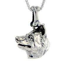 "Sterling Silver Norwegian Elkhound Dog Head Pendant / Charm, 18"" Box Chain"