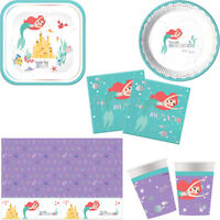 Disney Ariel Mermaid Birthday Party Tableware Tablecover Napkins Plates Cups