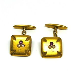 Vintage 18K Yellow Gold Pearl Ruby Square Cufflinks