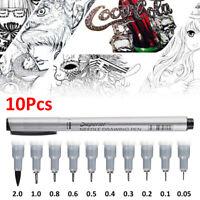 Professional 10 Pack Fineliner Pens Brush Needle Art Drawing Set Signature