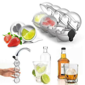 4 Large Ice Balls Maker Cube Tray Big Silicone Mold Sphere Whiskey Round Mould