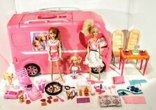 Mattel Barbie Pop Up Popup Camper 3 Levels Pink RV Bus Home Van Truck Set