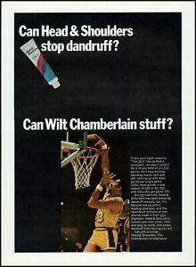 1969 Wilt Chamberlain LA Lakers Head & Shoulders shampoo photo Print Ad adL37