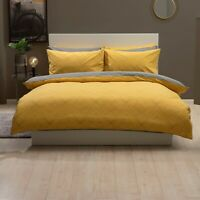 Striking Design Duvet Cover Set in Saffron Yellow & Grey Double Bed Reversible