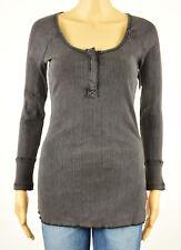 Free People Womens Black Long Sleeves Scoop Neck Casual Top L