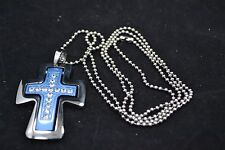 """Stainless Steel Cross pendant anodized w/blue coating CZ's & 30"""" Bead Chain"""