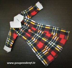 VINTAGE FLEUR OTTO SIMON DUTCH SINDY DOLL - robe tartan dress - 1254