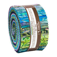 Kaufman Batik Fabric Strips Jelly Roll Rollup, SERENITY LAKE, RU-910-40