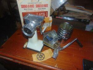 Vintage RIVAL Model 395 Combination Grind-O-Mat / Shred-O-Mat W/ Box, Cones Etc