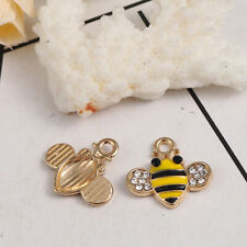 5 x Stunning Gold Plated Yellow Bumble Bee Charms with Rhinestones 18x17mm
