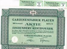 Gardinenfabrik Plauen, Plauen i.V. 1832, 100 RM, selten ungelocht mit Kupons! VF