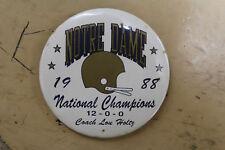 1988 Notre Dame Fighting Irish NATIONAL CHAMPIONS Pin / Button 12-0