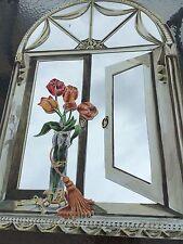 "Tulip &Tassels Faux Round Top Window Mirror 33""x 22"" wide by Stupell Industries."