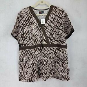 Peaches Uniforms 2XL Medical Scrub Top Brown NWT Short sleeves Professional