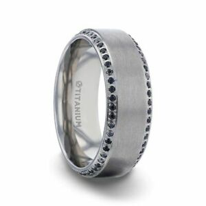 Domed Titanium Brushed Men's Band with Black Sapphires on Sides - 8mm