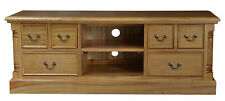 Oak Wide Screen TV unit with Six Drawers