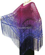 Crochet Poncho Shawl Top Hand Dyed Magenta Purple Ombree Maya Matazaro One Size