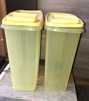 2 Tupperware 1588-7 Super Cereal Keeper 20 Cup Sheer Container 1590 Yellow