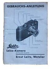 Leitz Leica-Camera mit Kassette D - Anleitung von Aug. 1933