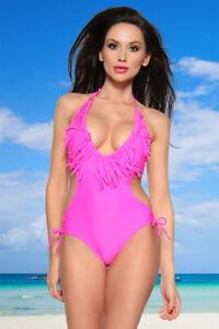 Monokini mit Fransen tief ausgeschnittener Monokini Bademode Beachwear Pink Gr L