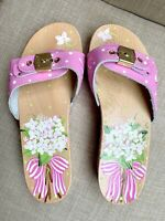Dr Scholls Wood Sandals Size 7 Pink Leather Hand Painted FLowers Made in Italy