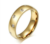 6mm men women titanium CZ gold wedding engagement ring band size T    ala82701