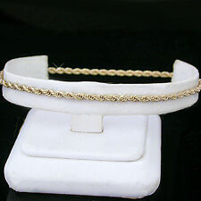 """Layered Anklet + Lifetime Guarantee ~ New 10"""" Ladies 2mm Round Rope Link Gold"""