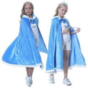 NEW Kids Frozen Elsa Princess Cloak Hooded Cosplay Cape Costume Girls Halloween