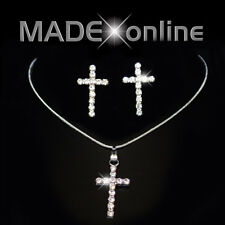 Cross Necklace and Earring Set, Silver Plated Diamante Bling