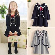 Baby Girl Kids Dresses Long Sleeve School Uniform Dress Clothes Winter Casual UK