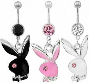 Rabbit Rhinestone Crystal Barbells Navel Belly Bar Button Ring Body Piercing UK