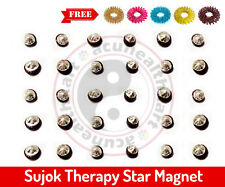 Sujok Therapy Star Magnets Round (Set of 30) + Free 5 Acupressure Massage Rings