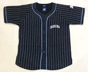 Vintage Starter UNC Tar Heels North Carolina NCAA Jersey Navy Blue Pinstripe L