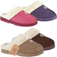 Womens Ladies Slip On Snow Flake Warm Winter Fur Lined Snuggle Slippers Mules UK