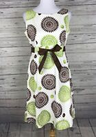 Jessica Howard Women's Ivory / Brown / Green A-Line Sleeveless Dress Size 8
