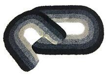 2 PIECE GRADUATED OMBRE BLACK 100% COTTON BATH MAT & PEDESTAL SET