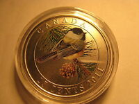 CANADA 2011 BLACK CAPPED CHICKADEE COLOURED OVERSIZE 25 CENT COIN BIRD SERIES